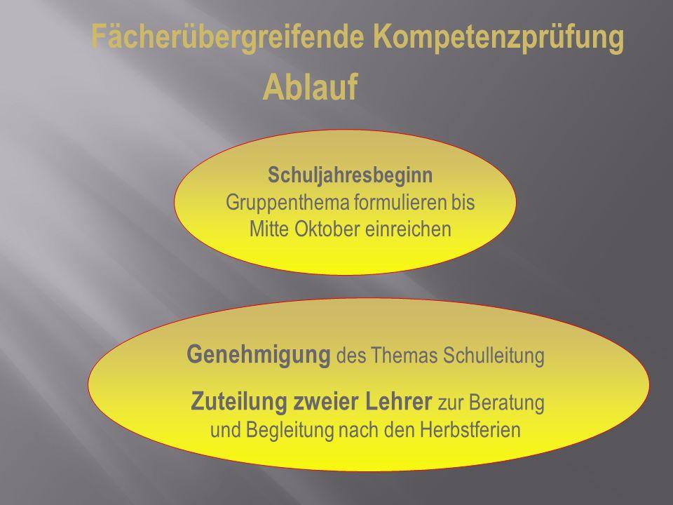 Fächerübergreifende Kompetenzprüfung Ablauf Schuljahresbeginn Gruppenthema formulieren bis Mitte Oktober einreichen Genehmigung des Themas Schulleitun