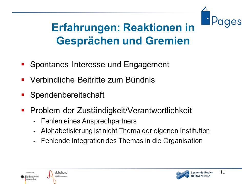 11 Erfahrungen: Reaktionen in Gesprächen und Gremien Spontanes Interesse und Engagement Verbindliche Beitritte zum Bündnis Spendenbereitschaft Problem