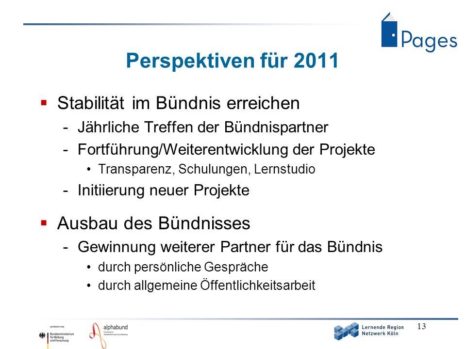 13 Perspektiven für 2011 Stabilität im Bündnis erreichen -Jährliche Treffen der Bündnispartner -Fortführung/Weiterentwicklung der Projekte Transparenz