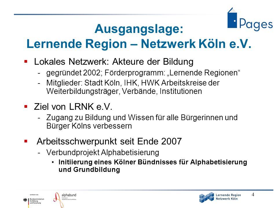 4 Ausgangslage: Lernende Region – Netzwerk Köln e.V. Lokales Netzwerk: Akteure der Bildung -gegründet 2002; Förderprogramm: Lernende Regionen -Mitglie