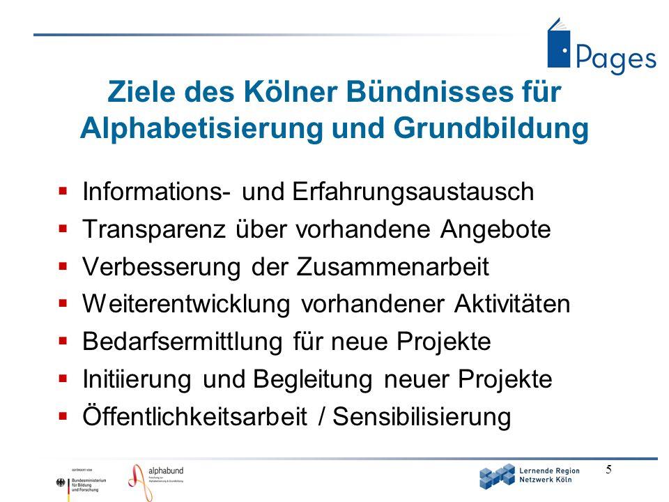 5 Ziele des Kölner Bündnisses für Alphabetisierung und Grundbildung Informations- und Erfahrungsaustausch Transparenz über vorhandene Angebote Verbess
