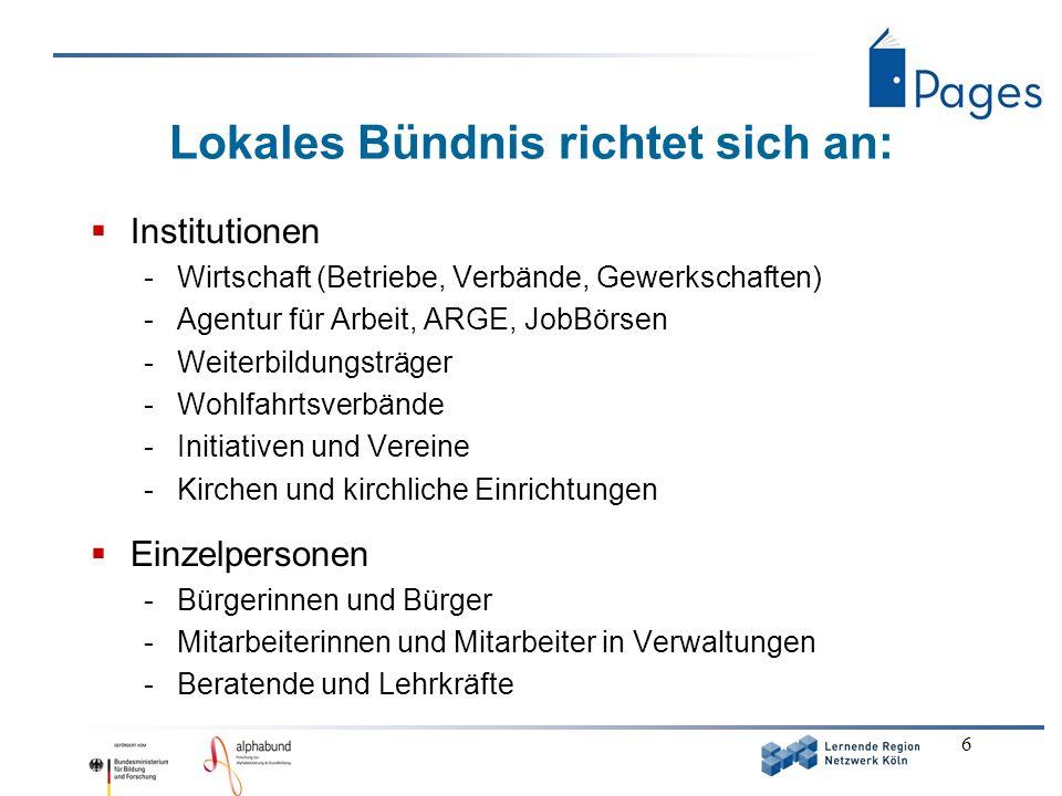 6 Lokales Bündnis richtet sich an: Institutionen -Wirtschaft (Betriebe, Verbände, Gewerkschaften) -Agentur für Arbeit, ARGE, JobBörsen -Weiterbildungs