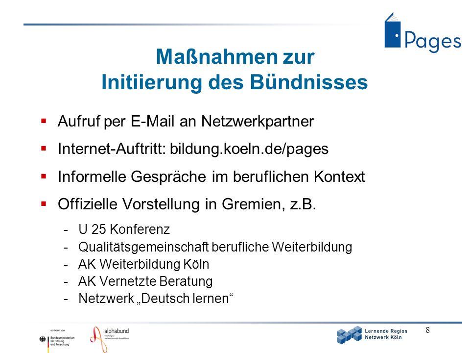 8 Maßnahmen zur Initiierung des Bündnisses Aufruf per E-Mail an Netzwerkpartner Internet-Auftritt: bildung.koeln.de/pages Informelle Gespräche im beru