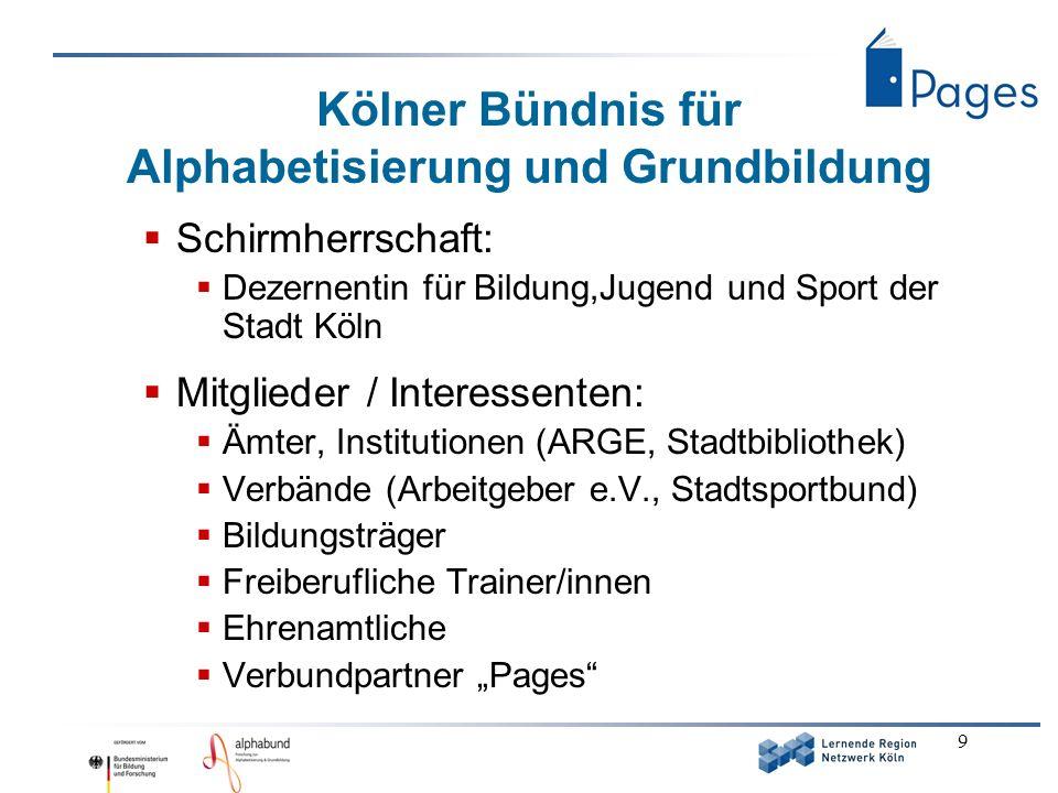 9 Kölner Bündnis für Alphabetisierung und Grundbildung Schirmherrschaft: Dezernentin für Bildung,Jugend und Sport der Stadt Köln Mitglieder / Interess