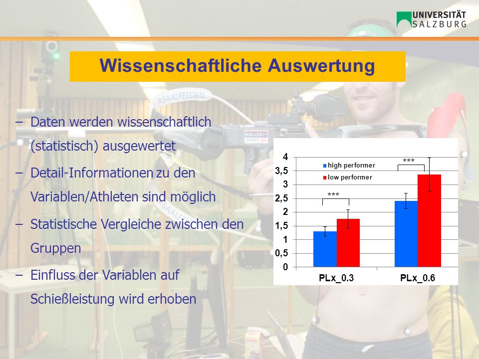Wissenschaftliche Auswertung –Daten werden wissenschaftlich (statistisch) ausgewertet –Detail-Informationen zu den Variablen/Athleten sind möglich –St