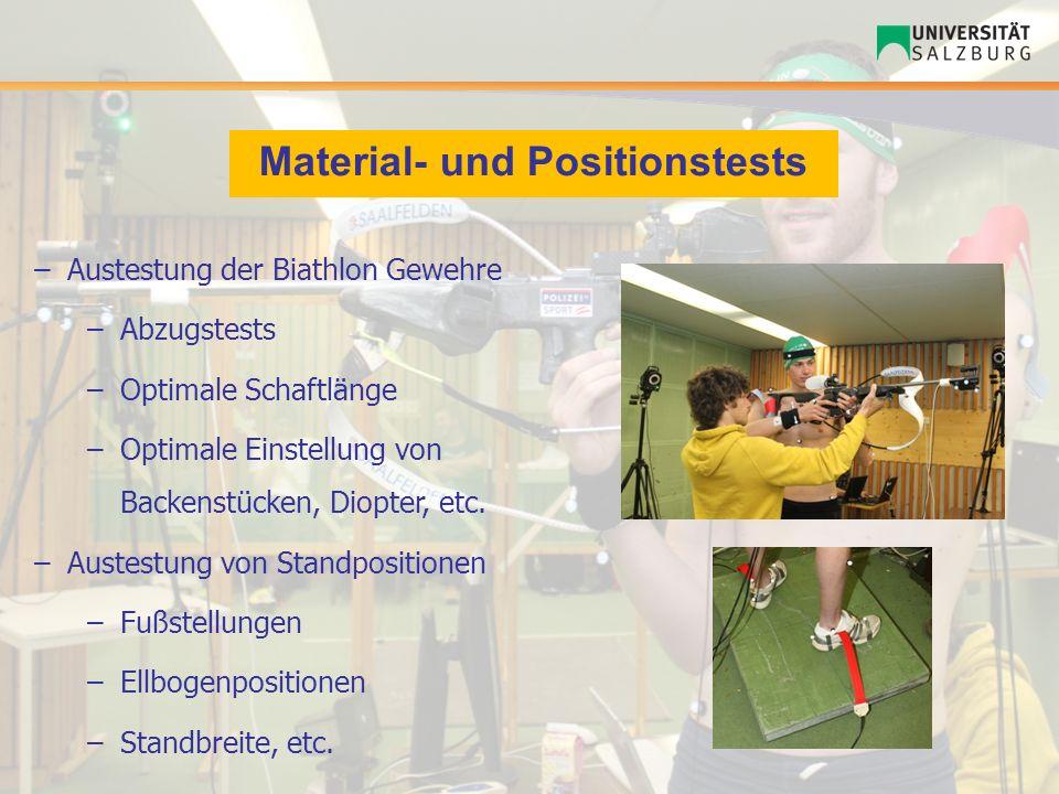 Material- und Positionstests –Austestung der Biathlon Gewehre –Abzugstests –Optimale Schaftlänge –Optimale Einstellung von Backenstücken, Diopter, etc