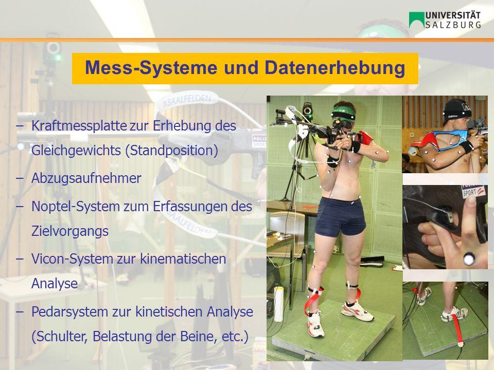Mess-Systeme und Datenerhebung –Kraftmessplatte zur Erhebung des Gleichgewichts (Standposition) –Abzugsaufnehmer –Noptel-System zum Erfassungen des Zi