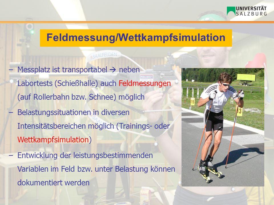 Feldmessung/Wettkampfsimulation –Messplatz ist transportabel neben Labortests (Schießhalle) auch Feldmessungen (auf Rollerbahn bzw. Schnee) möglich –B