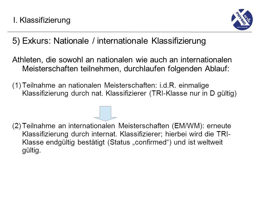 I. Klassifizierung 5) Exkurs: Nationale / internationale Klassifizierung Athleten, die sowohl an nationalen wie auch an internationalen Meisterschafte