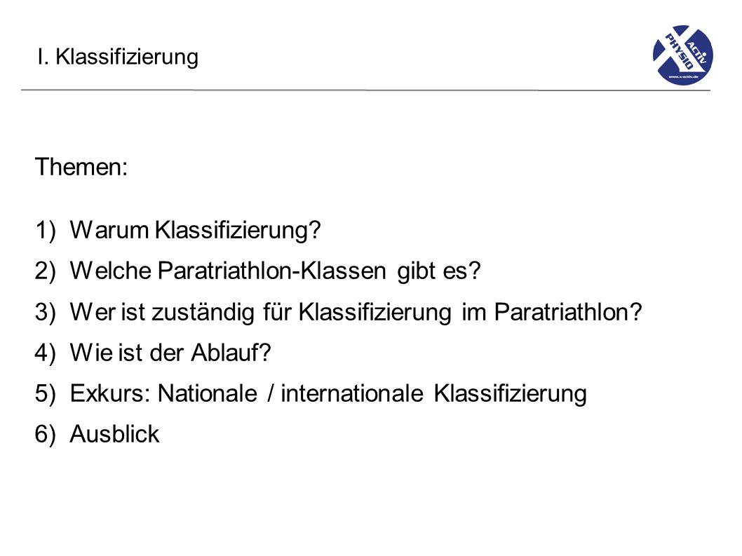 I.Klassifizierung 1) Warum Klassifizierung.