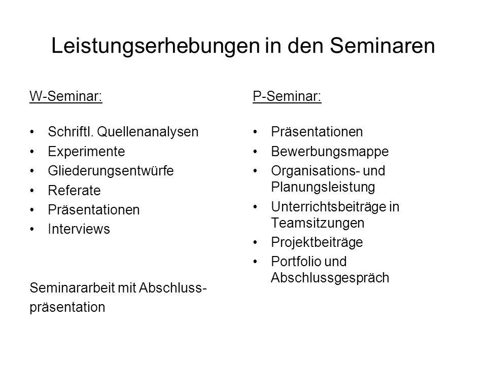 Leistungserhebungen in den Seminaren W-Seminar: Schriftl.