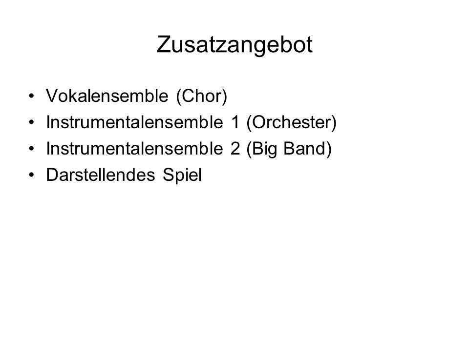 Zusatzangebot Vokalensemble (Chor) Instrumentalensemble 1 (Orchester) Instrumentalensemble 2 (Big Band) Darstellendes Spiel