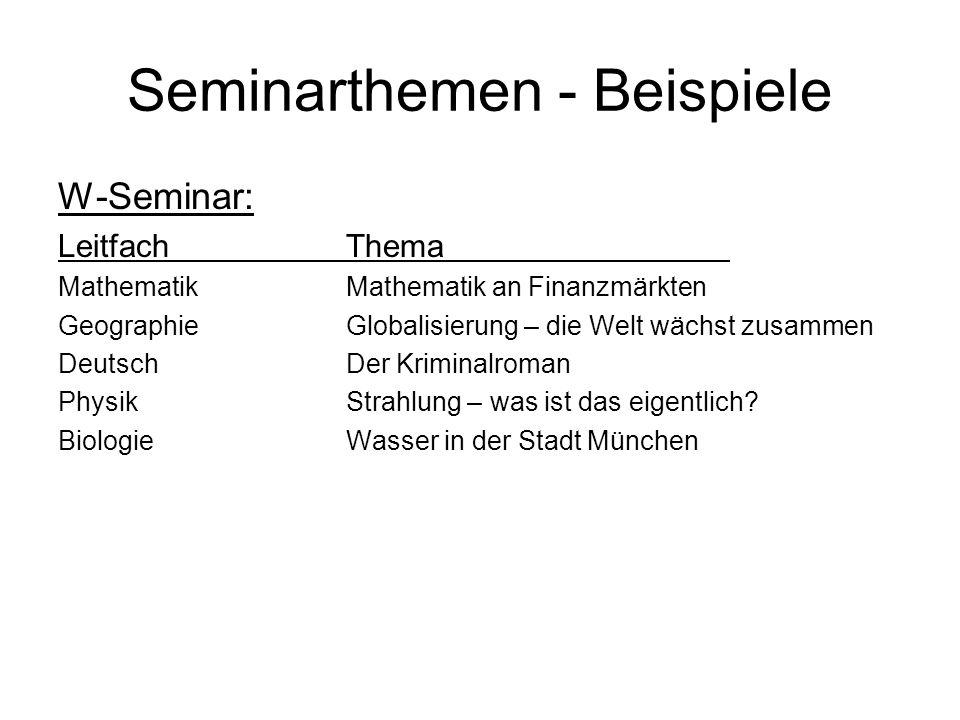 Seminarthemen - Beispiele W-Seminar: LeitfachThema MathematikMathematik an Finanzmärkten GeographieGlobalisierung – die Welt wächst zusammen DeutschDer Kriminalroman PhysikStrahlung – was ist das eigentlich.