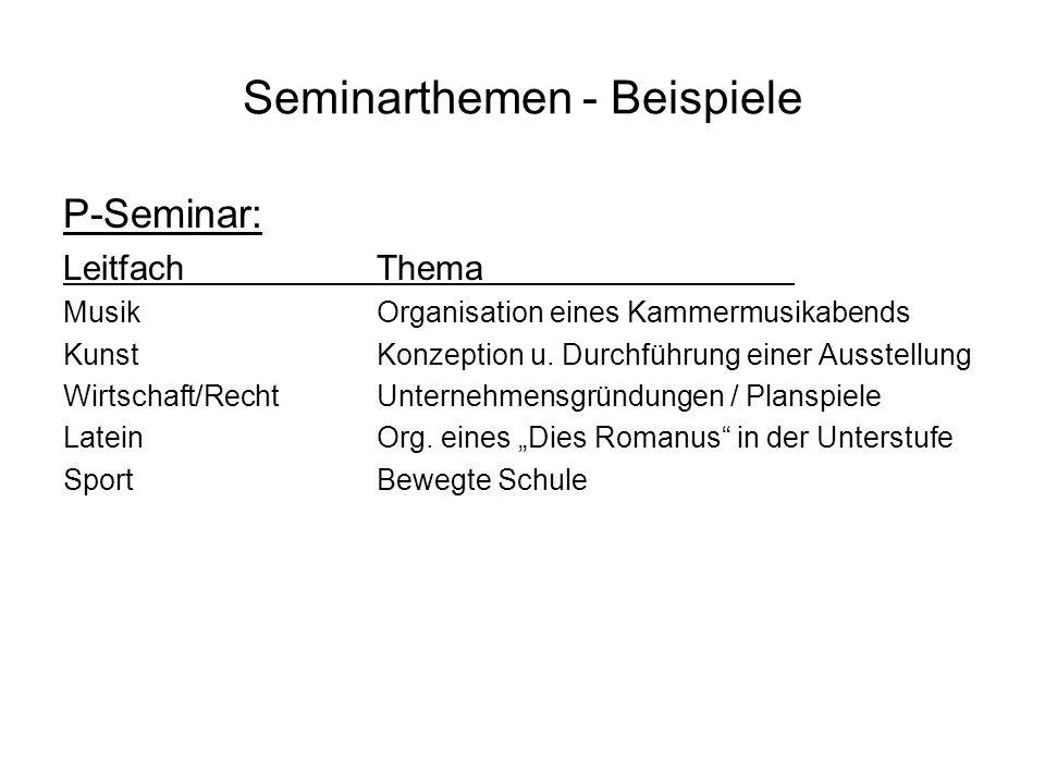 Seminarthemen - Beispiele P-Seminar: LeitfachThema MusikOrganisation eines Kammermusikabends KunstKonzeption u. Durchführung einer Ausstellung Wirtsch