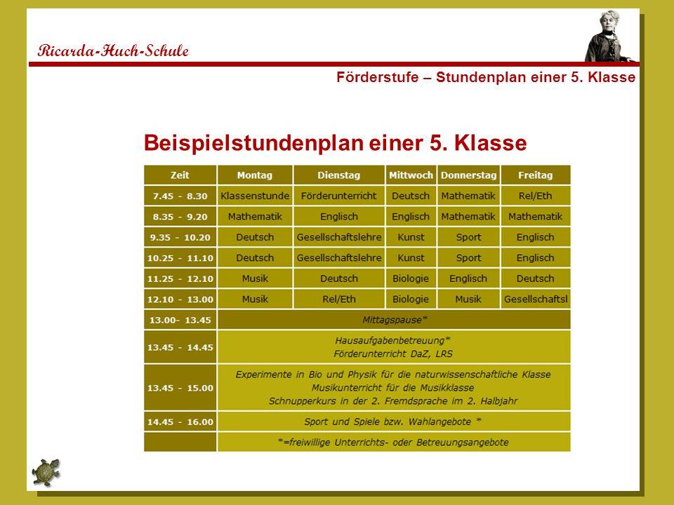 Ricarda-Huch-Schule Förderstufe – Stundenplan einer 5. Klasse Beispielstundenplan einer 5. Klasse