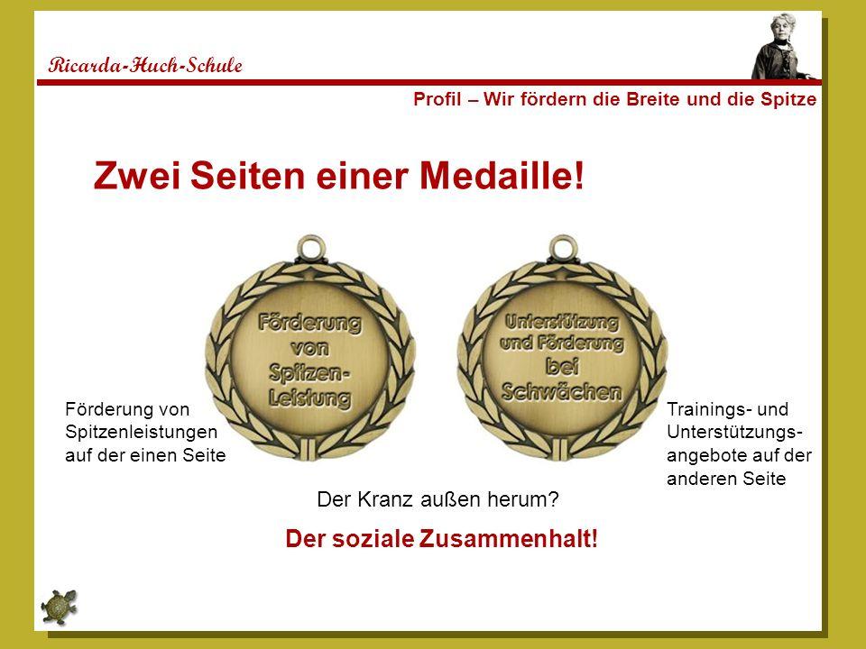 Ricarda-Huch-Schule Profil – Wir fördern die Breite und die Spitze Zwei Seiten einer Medaille.