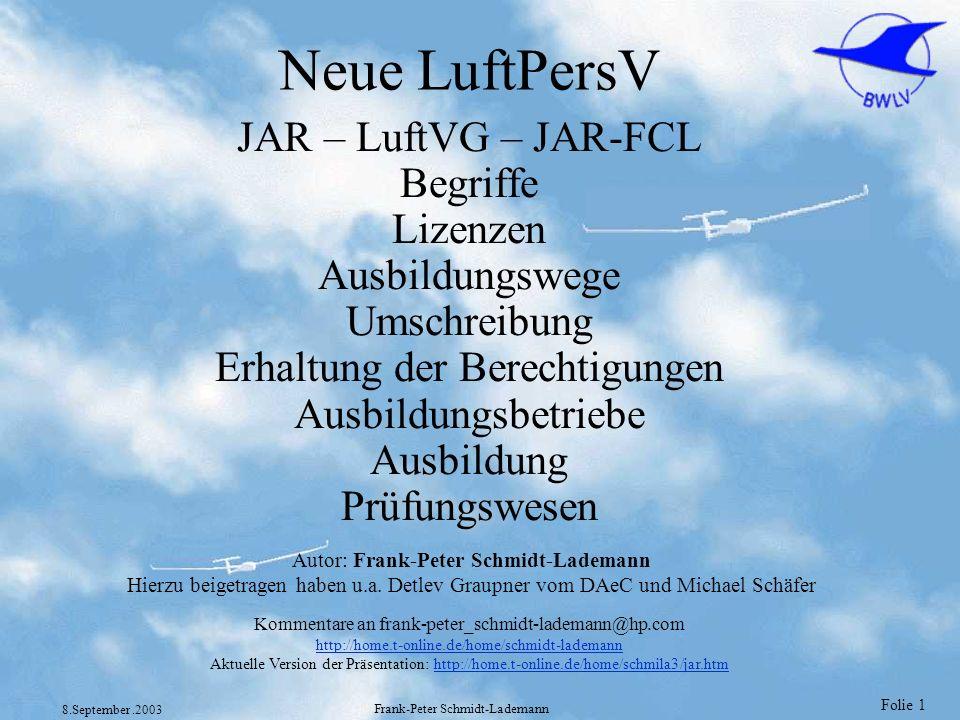 Folie 102 8.September.2003 Frank-Peter Schmidt-Lademann Praktische PPL(A) Prüfung JAR-FCL 1.135 und Anhänge Verfahren für den Nachweis der Prüfungsreife ist von der Behörde festzulegen Prüfung ist innerhalb von 6 Monaten nach Abschluß der Ausbildung abzulegen.