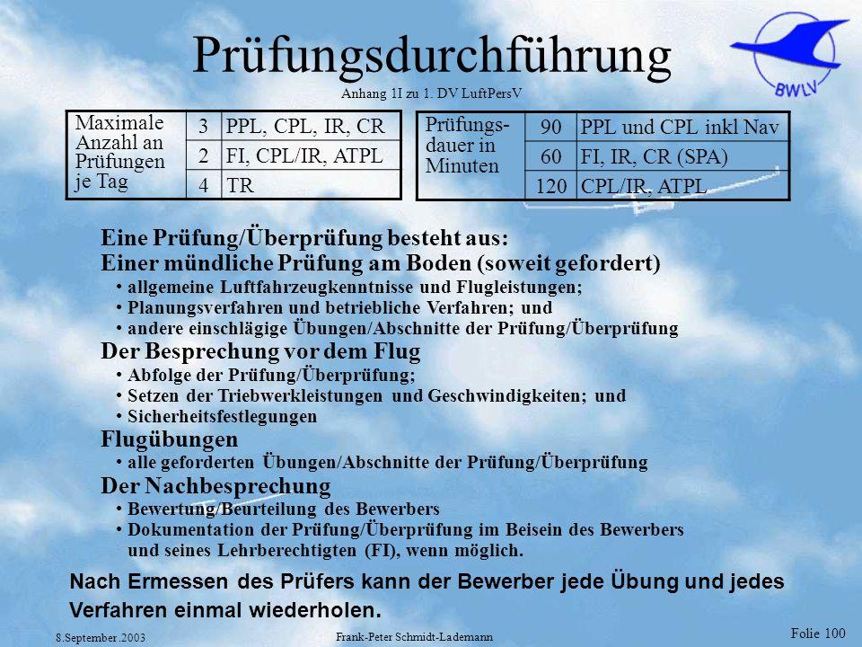 Folie 100 8.September.2003 Frank-Peter Schmidt-Lademann Prüfungsdurchführung Anhang 1I zu 1. DV LuftPersV Maximale Anzahl an Prüfungen je Tag 3PPL, CP