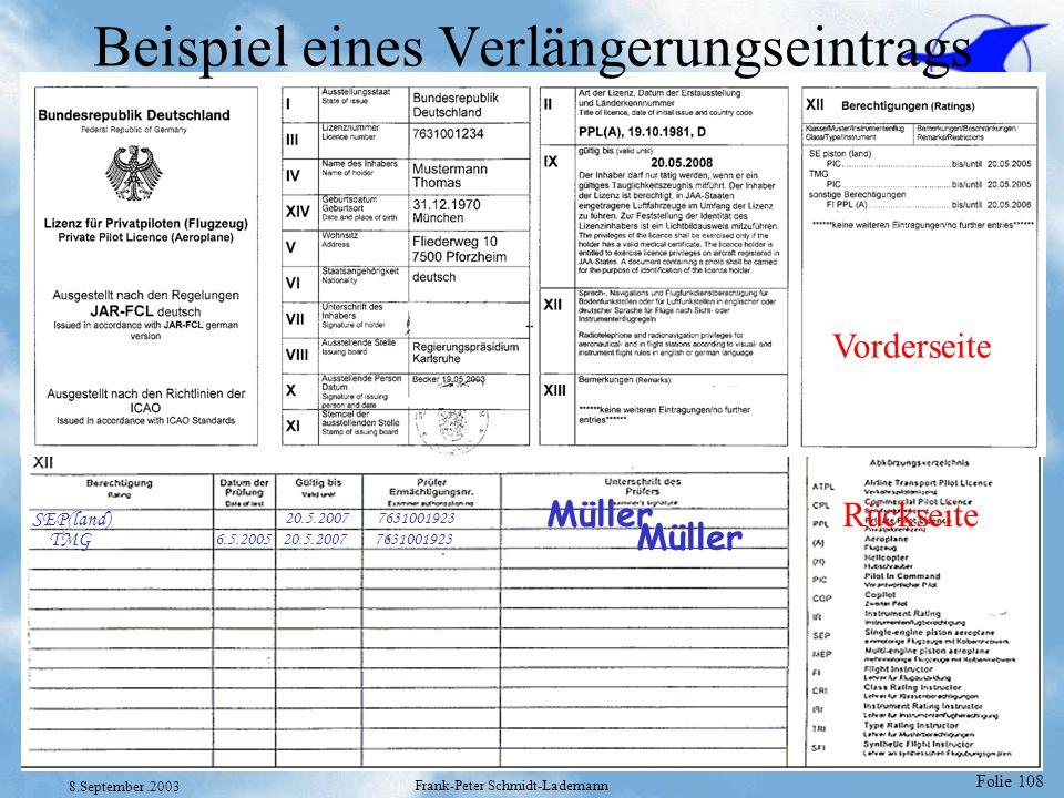 Folie 108 8.September.2003 Frank-Peter Schmidt-Lademann Beispiel eines Verlängerungseintrags Vorderseite Rückseite SEP(land) 20.5.2007 7631001923 Müll