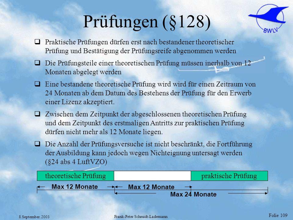 Folie 109 8.September.2003 Frank-Peter Schmidt-Lademann Prüfungen (§128) Praktische Prüfungen dürfen erst nach bestandener theoretischer Prüfung und B