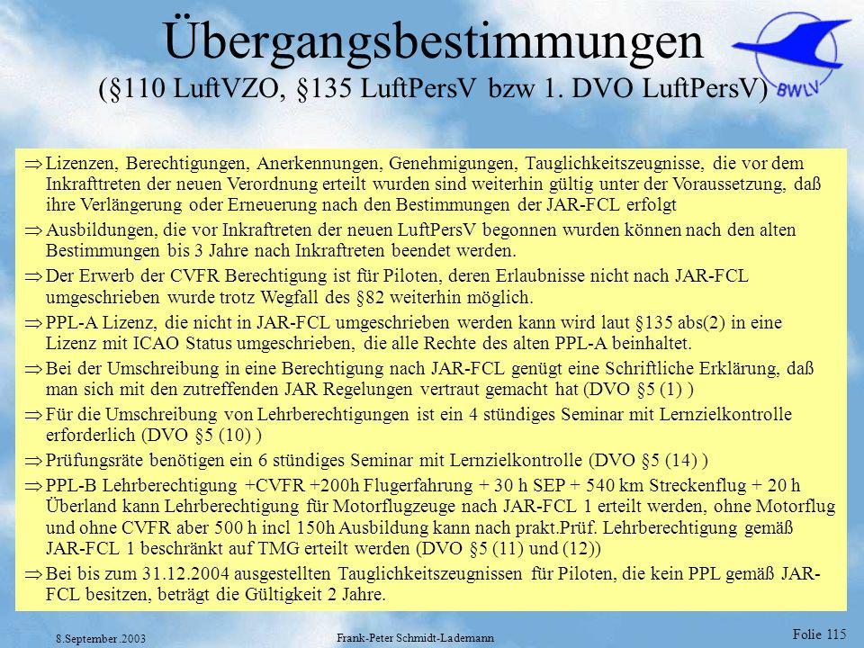 Folie 115 8.September.2003 Frank-Peter Schmidt-Lademann Übergangsbestimmungen (§110 LuftVZO, §135 LuftPersV bzw 1. DVO LuftPersV) Lizenzen, Berechtigu