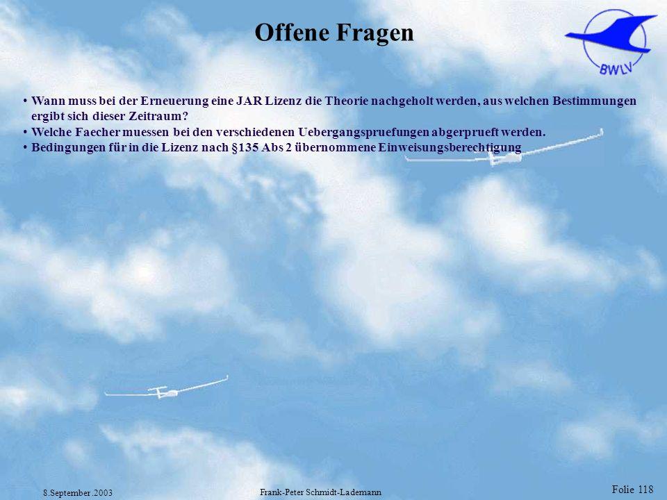 Folie 118 8.September.2003 Frank-Peter Schmidt-Lademann Offene Fragen Wann muss bei der Erneuerung eine JAR Lizenz die Theorie nachgeholt werden, aus