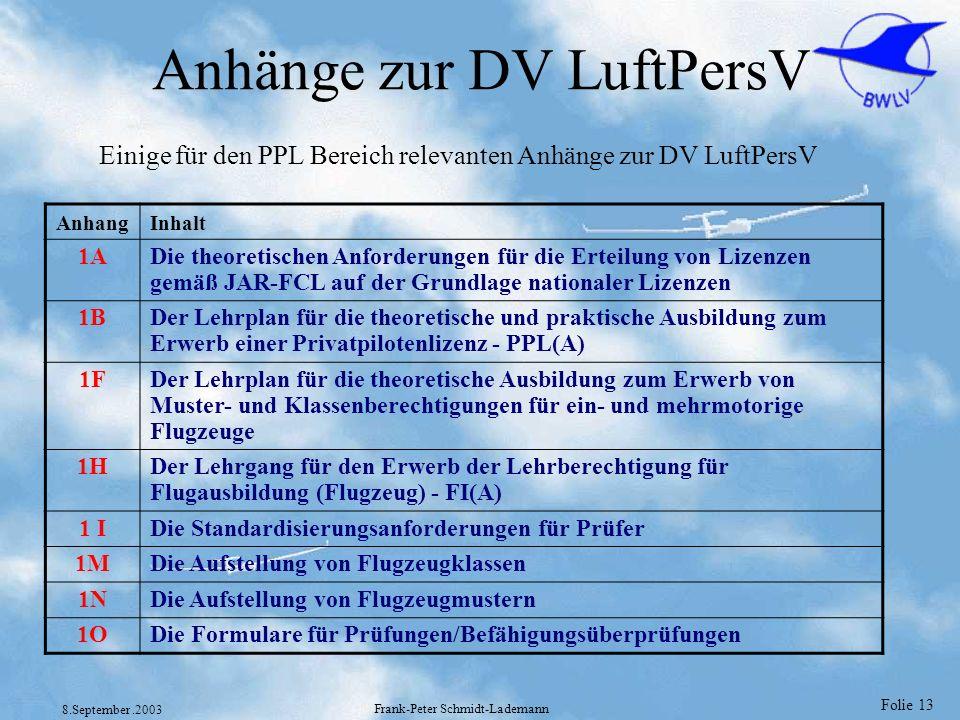 Folie 13 8.September.2003 Frank-Peter Schmidt-Lademann Anhänge zur DV LuftPersV AnhangInhalt 1ADie theoretischen Anforderungen für die Erteilung von L