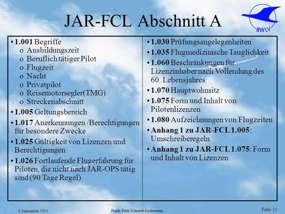 Folie 15 8.September.2003 Frank-Peter Schmidt-Lademann JAR-FCL Abschnitt A 1.001 Begriffe oAusbildungszeit oBeruflich tätiger Pilot oFlugzeit oNacht o