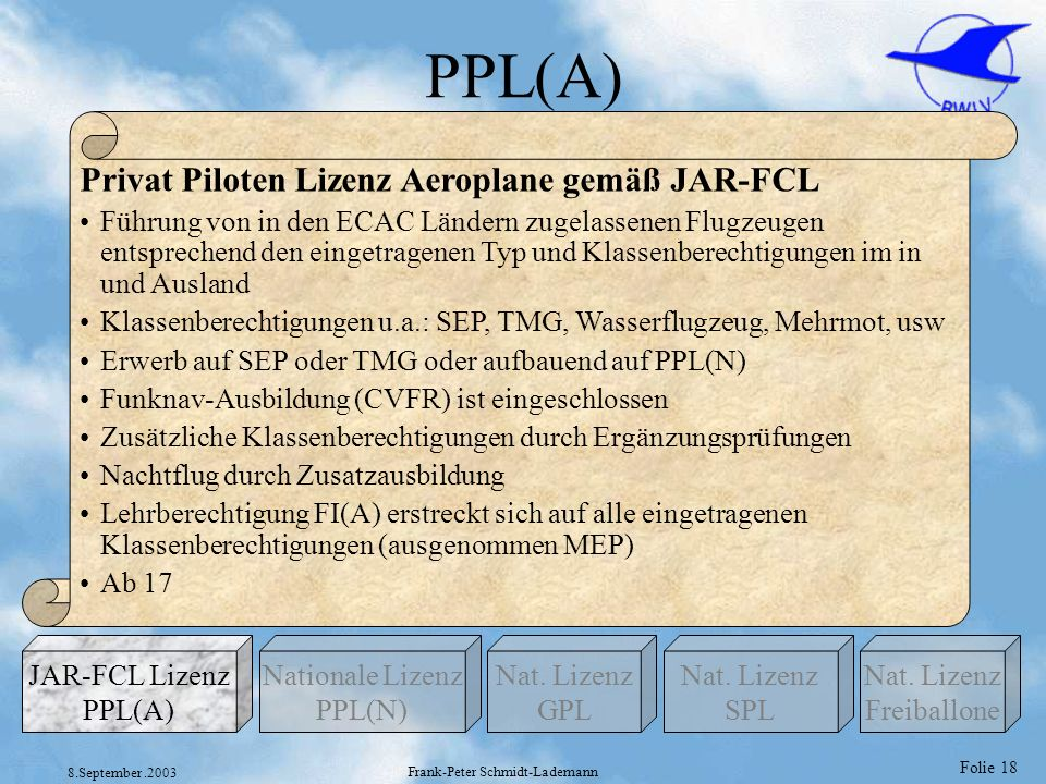 Folie 18 8.September.2003 Frank-Peter Schmidt-Lademann PPL(A) Privat Piloten Lizenz Aeroplane gemäß JAR-FCL Führung von in den ECAC Ländern zugelassen