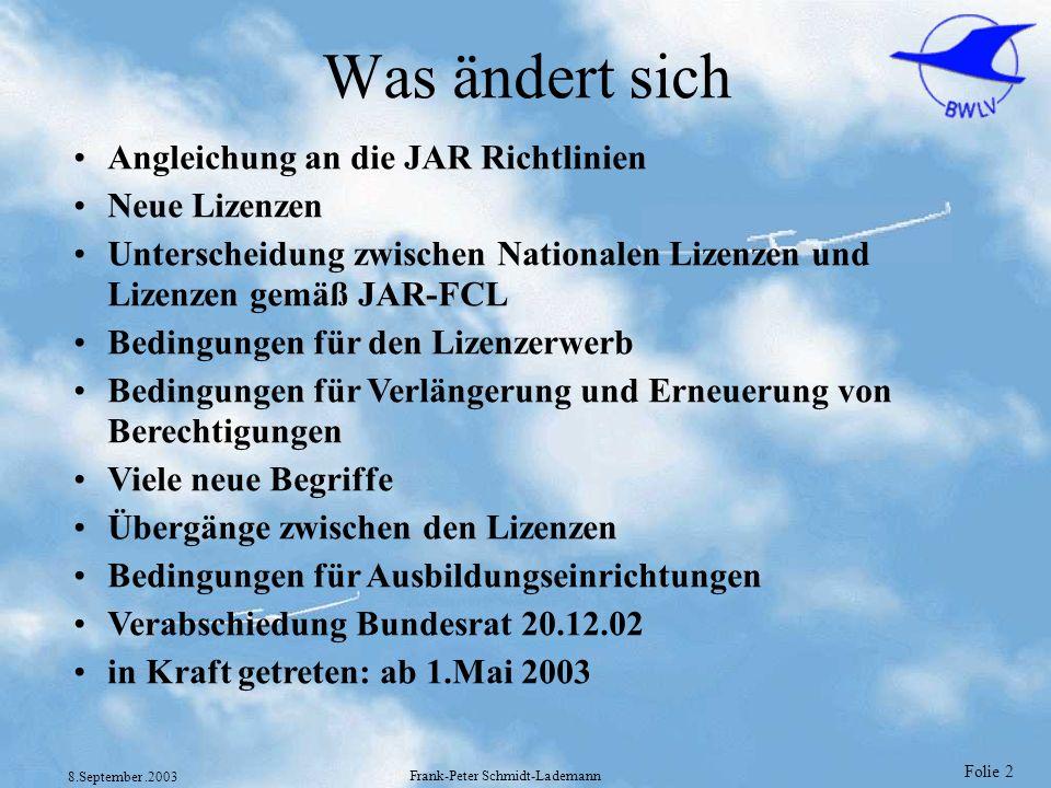 Folie 2 8.September.2003 Frank-Peter Schmidt-Lademann Was ändert sich Angleichung an die JAR Richtlinien Neue Lizenzen Unterscheidung zwischen Nationa