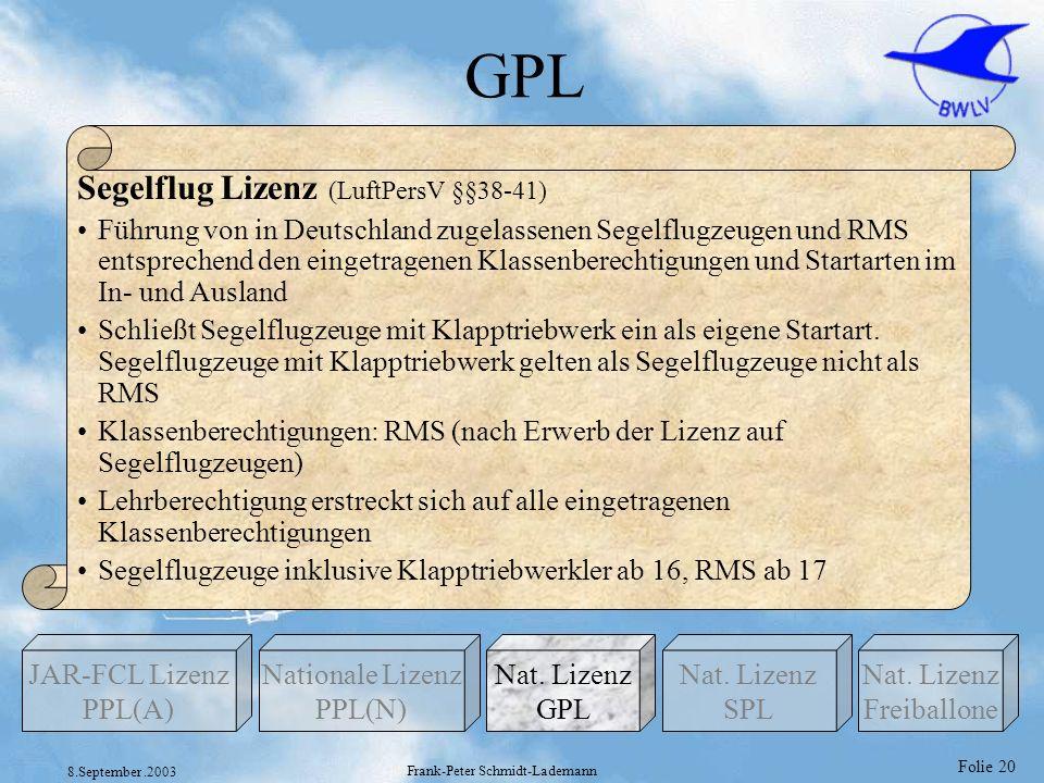 Folie 20 8.September.2003 Frank-Peter Schmidt-Lademann GPL Nationale Lizenz PPL(N) Nat. Lizenz GPL JAR-FCL Lizenz PPL(A) Nat. Lizenz Freiballone Nat.