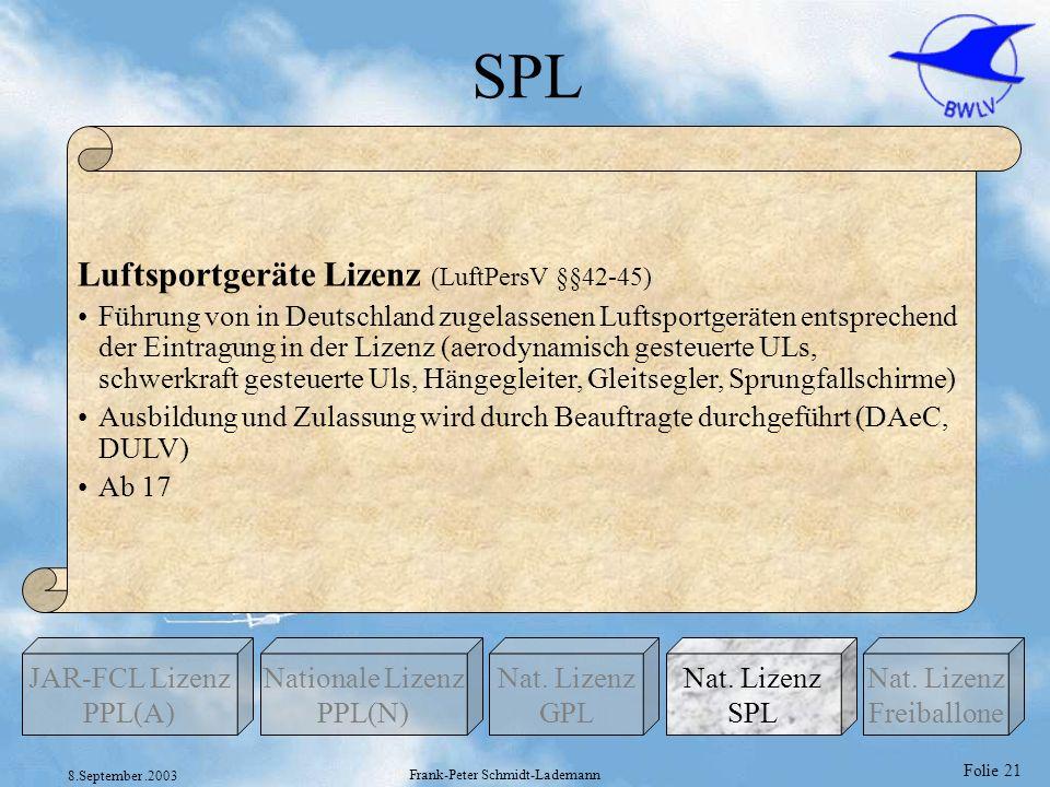 Folie 21 8.September.2003 Frank-Peter Schmidt-Lademann SPL Nationale Lizenz PPL(N) Nat. Lizenz GPL JAR-FCL Lizenz PPL(A) Nat. Lizenz Freiballone Nat.