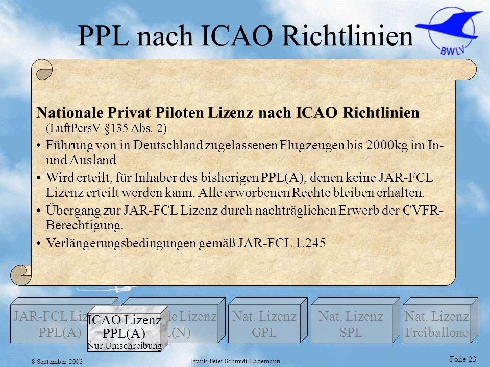 Folie 23 8.September.2003 Frank-Peter Schmidt-Lademann PPL nach ICAO Richtlinien Nationale Lizenz PPL(N) Nat. Lizenz GPL JAR-FCL Lizenz PPL(A) Nat. Li