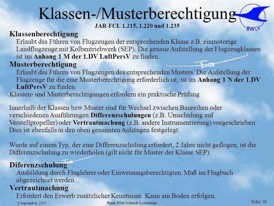 Folie 28 8.September.2003 Frank-Peter Schmidt-Lademann Klassen-/Musterberechtigung JAR-FCL 1.215, 1.220 und 1.235 Klassenberechtigung Erlaubt das Führ