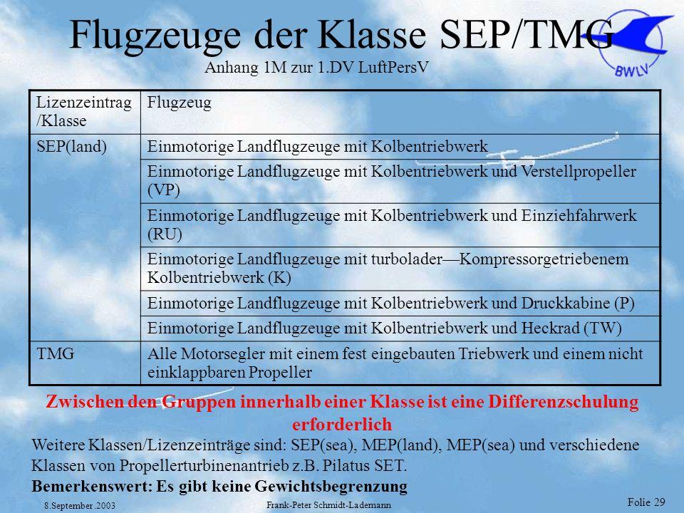 Folie 29 8.September.2003 Frank-Peter Schmidt-Lademann Flugzeuge der Klasse SEP/TMG Lizenzeintrag /Klasse Flugzeug SEP(land)Einmotorige Landflugzeuge