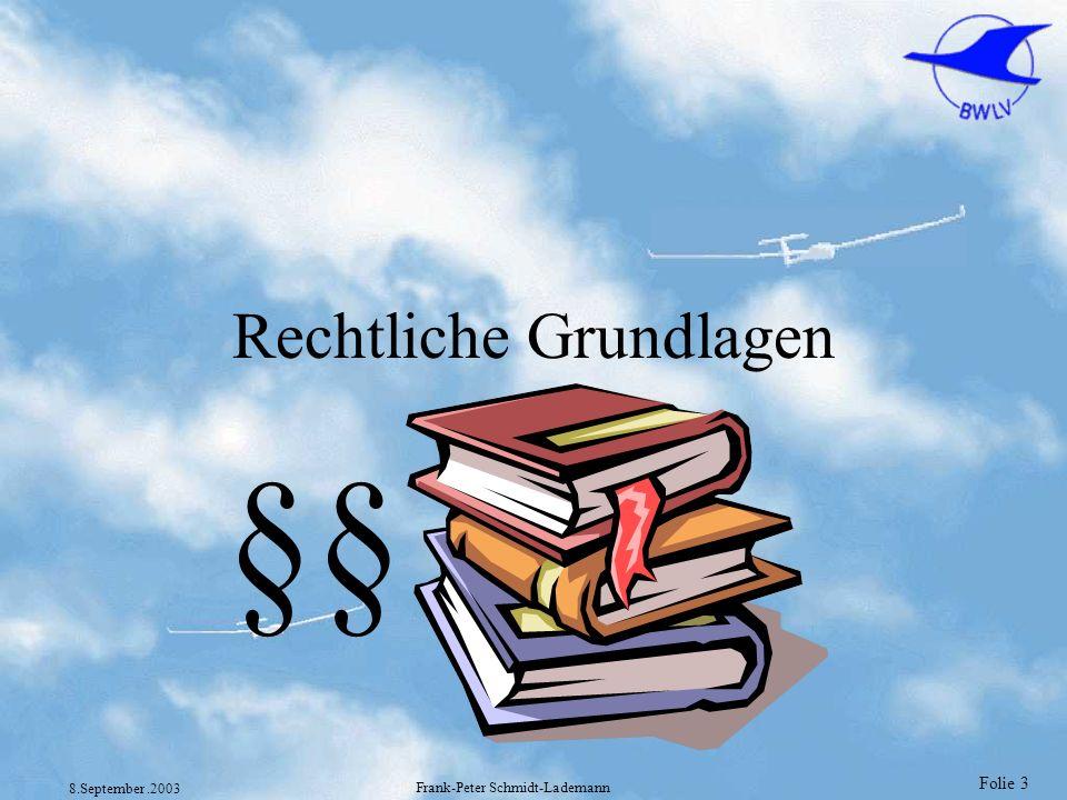 Folie 104 8.September.2003 Frank-Peter Schmidt-Lademann Prüfungsarten §2 Abs 5 und 6 1.DV LuftPersV und JAR-FCL 1.001 (5) Eine praktische Prüfung ist der Nachweis der fliegerischen Befähigung für den Erwerb einer Lizenz oder Berechtigung gegenüber einem Prüfer, einschließlich der mündlichen Kenntnisprüfung, sofern vorgeschrieben oder von dem Prüfer für erforderlich gehalten.