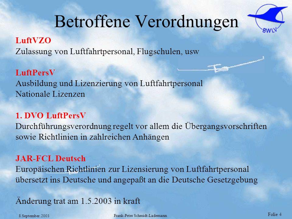 Folie 45 8.September.2003 Frank-Peter Schmidt-Lademann Vertrautmachung mit JAR-FCL 1 nach (DVO §5 Abs 1) Folgende Paragraphen aus der JAR-FCL 1 werden zur Lektüre empfohlen : JAR-FCL 1.001 Begriffsbestimmungen und Abkürzungen JAR-FCL 1.005 Geltungsbereich JAR-FCL 1.010 Voraussetzungen für eine Tätigkeit als Flugbesatzungsmitglied JAR-FCL 1.035 Flugmedizinische Tauglichkeit JAR-FCL 1.040 Eingeschränkte flugmedizinische Tauglichkeit JAR-FCL 1.050 Anrechnung von Flugzeiten und theoretischen Kenntnissen JAR-FCL 1.105 Flugmedizinische Tauglichkeit JAR-FCL 1.110 Rechte und Voraussetzungen JAR-FCL 1.215 Klassenberechtigungen (A) JAR-FCL 1.225 Erfordernis von Klassen- oder Musterberechtigungen JAR-FCL 1.245 (c) Klassen- und Musterberechtigungen -Gültigkeit, Verlängerung und Erneuerung Siehe auch Anhang 1A zur 1.