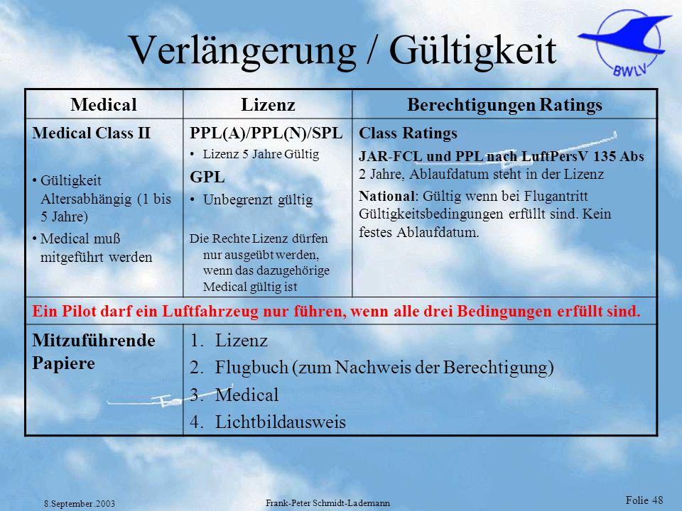 Folie 48 8.September.2003 Frank-Peter Schmidt-Lademann Verlängerung / Gültigkeit MedicalLizenzBerechtigungen Ratings Medical Class II Gültigkeit Alter