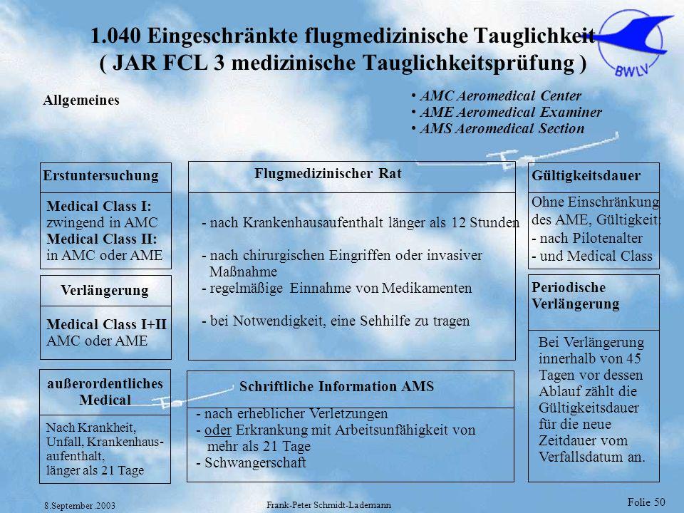Folie 50 8.September.2003 Frank-Peter Schmidt-Lademann 1.040 Eingeschränkte flugmedizinische Tauglichkeit ( JAR FCL 3 medizinische Tauglichkeitsprüfun