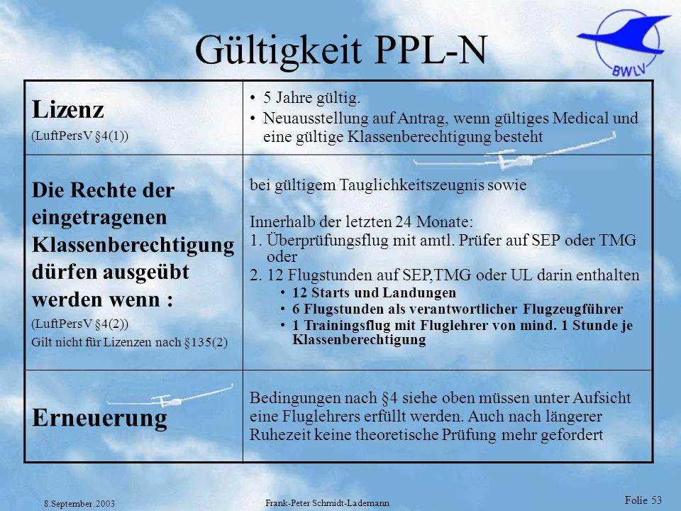 Folie 53 8.September.2003 Frank-Peter Schmidt-Lademann Gültigkeit PPL-N Lizenz (LuftPersV §4(1)) 5 Jahre gültig. Neuausstellung auf Antrag, wenn gülti