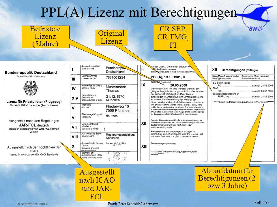 Folie 55 8.September.2003 Frank-Peter Schmidt-Lademann PPL(A) Lizenz mit Berechtigungen Befristete Lizenz (5Jahre) Original Lizenz CR SEP, CR TMG, FI
