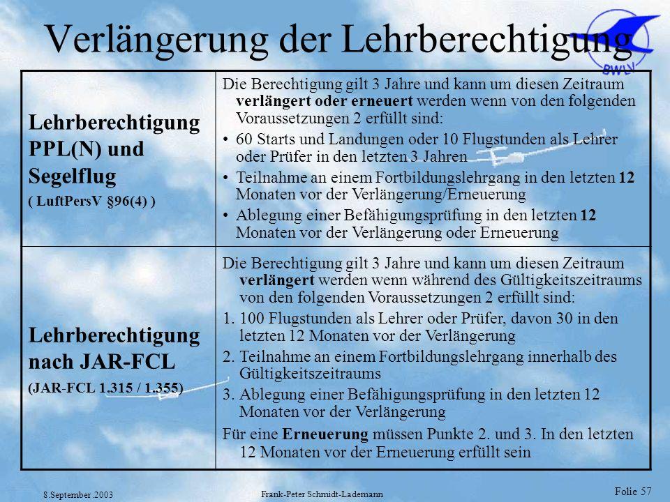Folie 57 8.September.2003 Frank-Peter Schmidt-Lademann Verlängerung der Lehrberechtigung Lehrberechtigung PPL(N) und Segelflug ( LuftPersV §96(4) ) Di