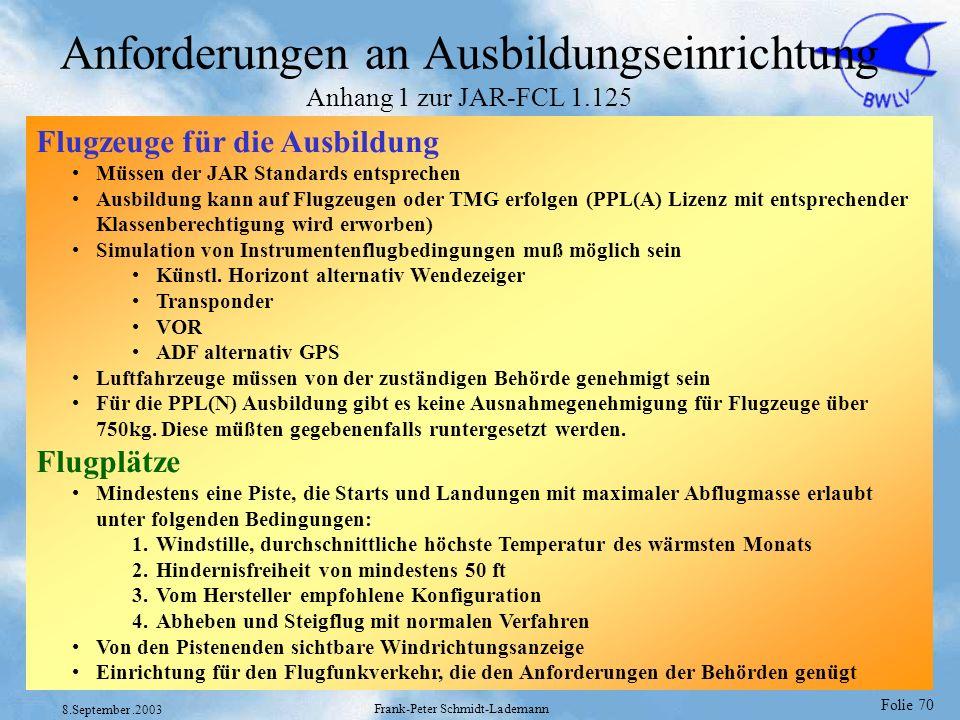 Folie 70 8.September.2003 Frank-Peter Schmidt-Lademann Anforderungen an Ausbildungseinrichtung Anhang 1 zur JAR-FCL 1.125 Flugzeuge für die Ausbildung