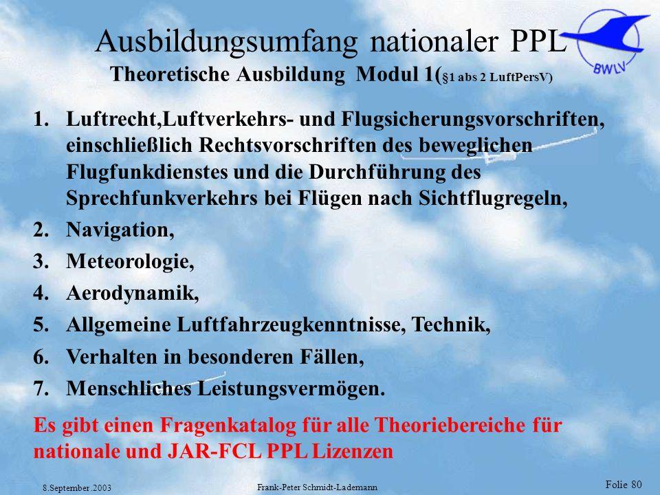 Folie 80 8.September.2003 Frank-Peter Schmidt-Lademann Ausbildungsumfang nationaler PPL Theoretische Ausbildung Modul 1( §1 abs 2 LuftPersV) 1.Luftrec
