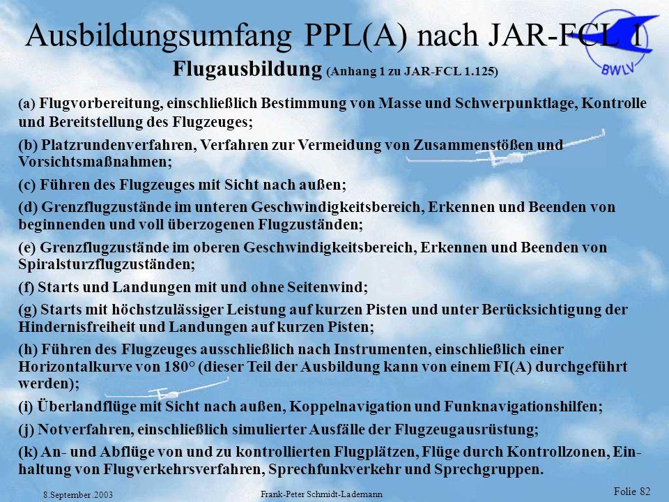 Folie 82 8.September.2003 Frank-Peter Schmidt-Lademann Ausbildungsumfang PPL(A) nach JAR-FCL 1 Flugausbildung (Anhang 1 zu JAR-FCL 1.125) (a) Flugvorb