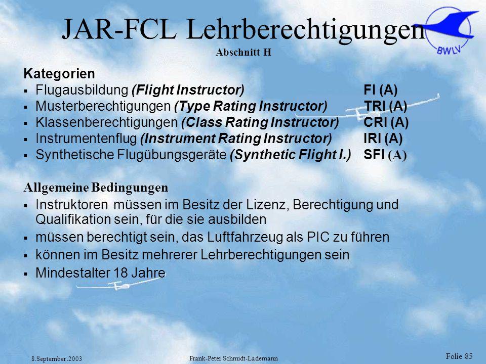 Folie 85 8.September.2003 Frank-Peter Schmidt-Lademann JAR-FCL Lehrberechtigungen Abschnitt H Kategorien Flugausbildung (Flight Instructor)FI (A) Must