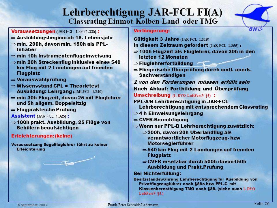 Folie 86 8.September.2003 Frank-Peter Schmidt-Lademann Lehrberechtigung JAR-FCL FI(A) Classrating Einmot-Kolben-Land oder TMG Voraussetzungen ( JAR-FC