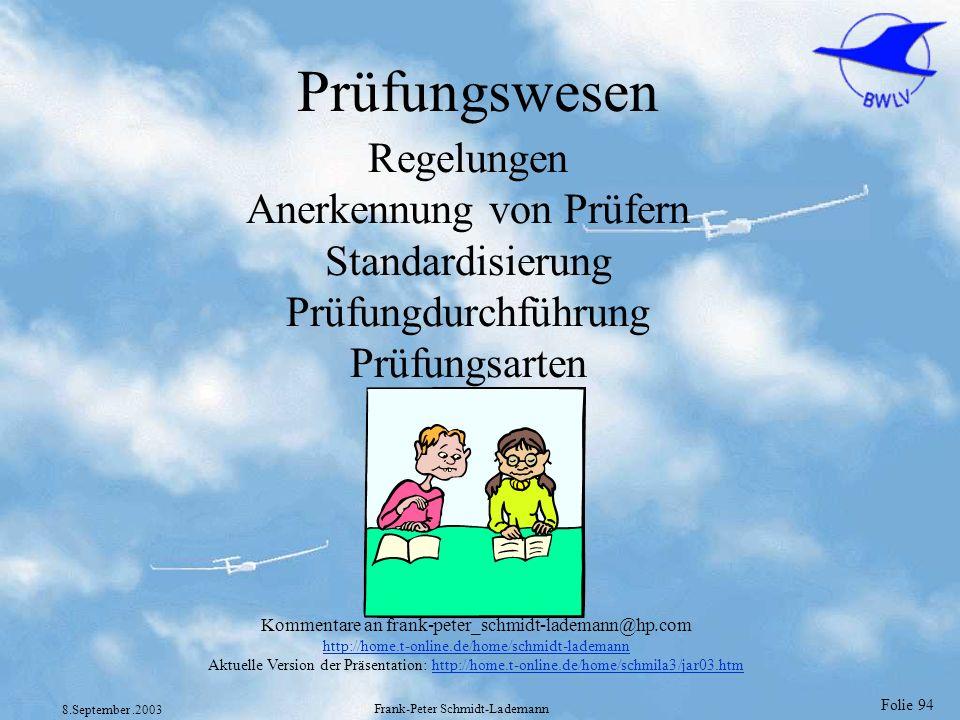 Folie 94 8.September.2003 Frank-Peter Schmidt-Lademann Prüfungswesen Regelungen Anerkennung von Prüfern Standardisierung Prüfungdurchführung Prüfungsa