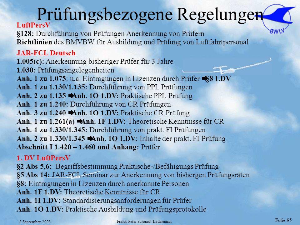 Folie 95 8.September.2003 Frank-Peter Schmidt-Lademann Prüfungsbezogene Regelungen LuftPersV §128: Durchführung von Prüfungen Anerkennung von Prüfern
