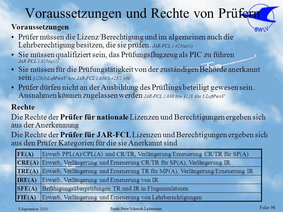 Folie 96 8.September.2003 Frank-Peter Schmidt-Lademann Voraussetzungen und Rechte von Prüfern Voraussetzungen Prüfer müssen die Lizenz/Berechtigung un